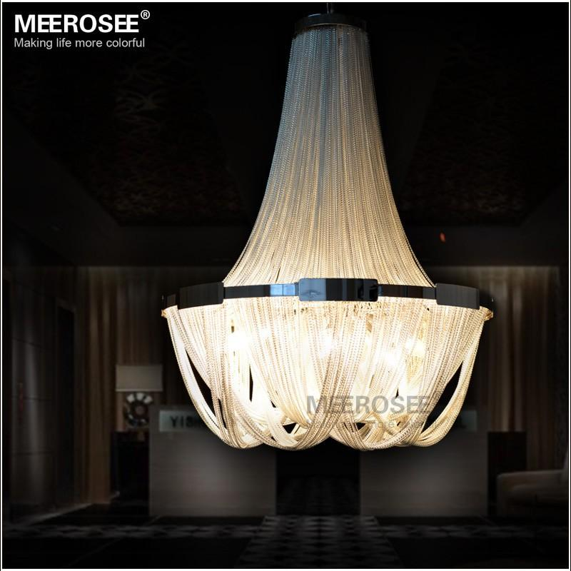 French empire chain chandelier light fixture long chain hanging suspension lustre lamp aluminum chain light for restaurant black pendant lights round