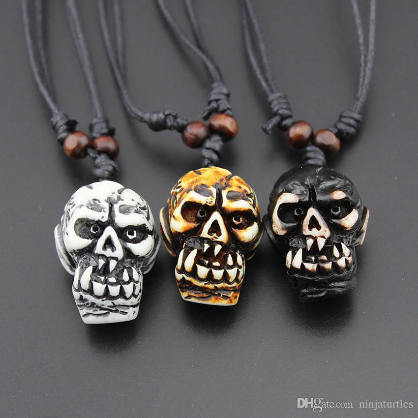 Cool Men Women's Mixed Styles Faux Yak Bone Carved Horror Devil Skull Pendant Necklace Halloween Skull Necklace Amulet Gift MN600