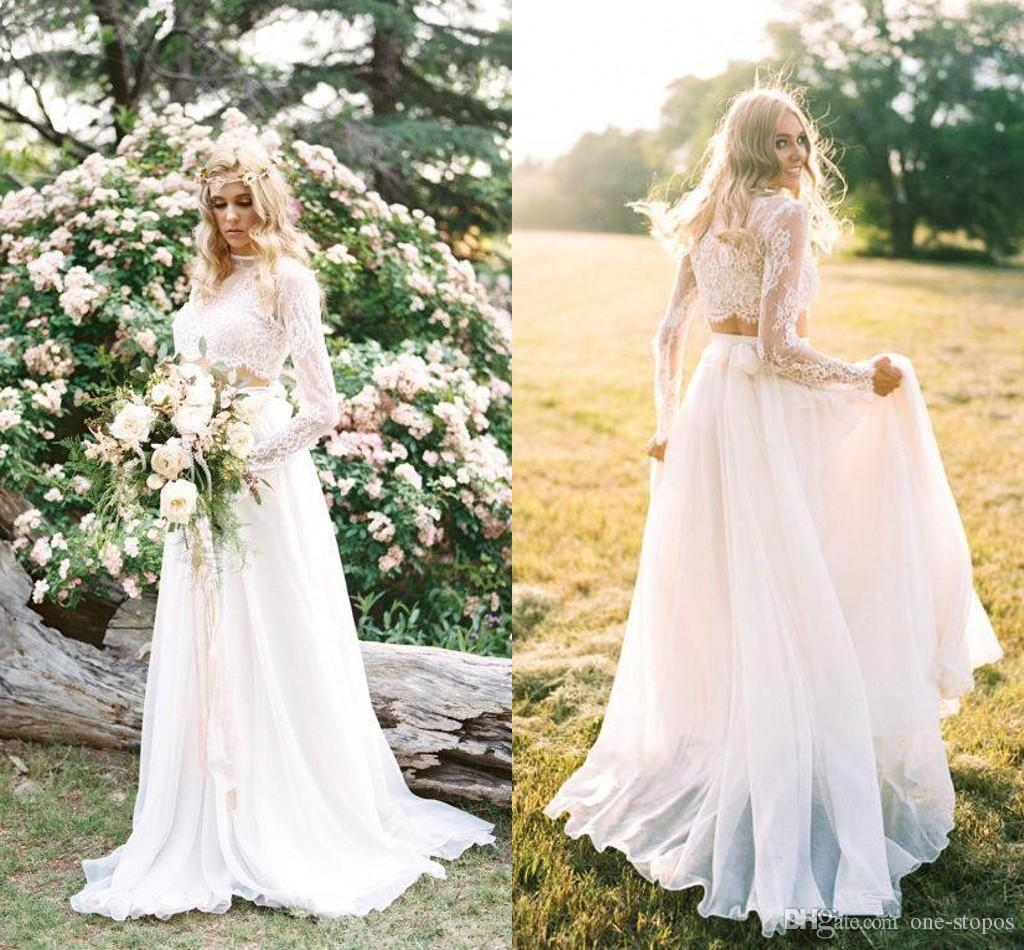 Discount 2018 cheap two piece bohemian country wedding dresses lace discount 2018 cheap two piece bohemian country wedding dresses lace long sleeves summer beach bridal gowns chiffon a line vestidos de novia ba6815 cheap a junglespirit