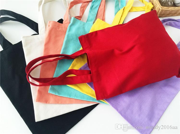 2017 New Arrival Candy blank DIY Women Shopping Bag cotton Canvas Drawstring Bag storage bag shoe case Outdoor