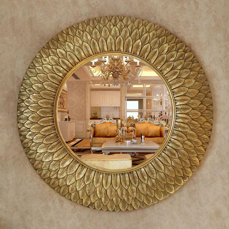 Compre dia75cm espejos decorativos de pared estilo europeo for Espejos decorativos con forma de sol