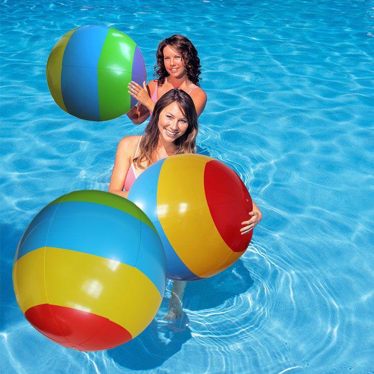 Beach Ball In Water 2017 rainbow large inflatable beach ball play water polo the beach