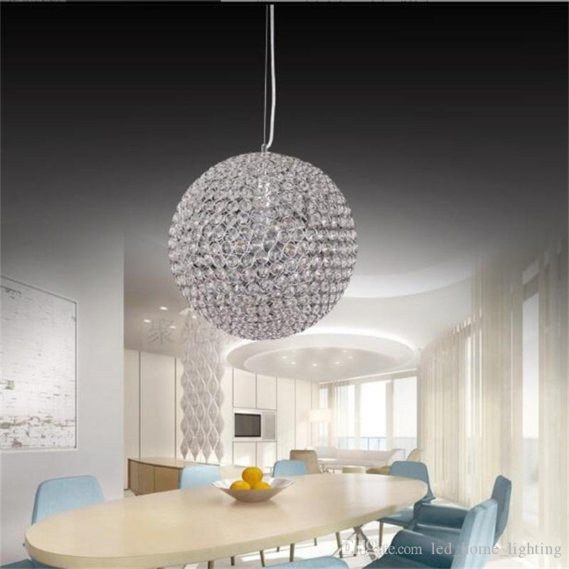 Grande sconto di lusso led rotondo lampadari di cristallo ristorante  lampadari camera da letto studio lampadari di cristallo per la tensione  90-260 v