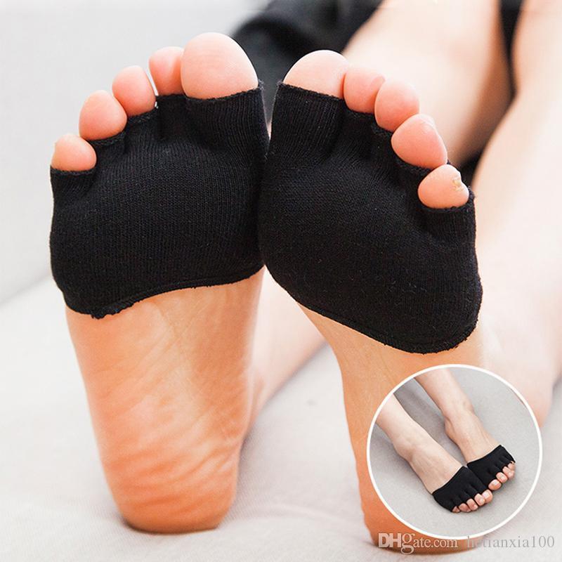 Novo Estilo Absorver o suor desodorante anti-desgaste Invisível Macio Cuidados Com Os Pés Almofada, Mulheres Homens Forefoot Enfermagem Almofada Do Dedo Do Pé Aberto meias