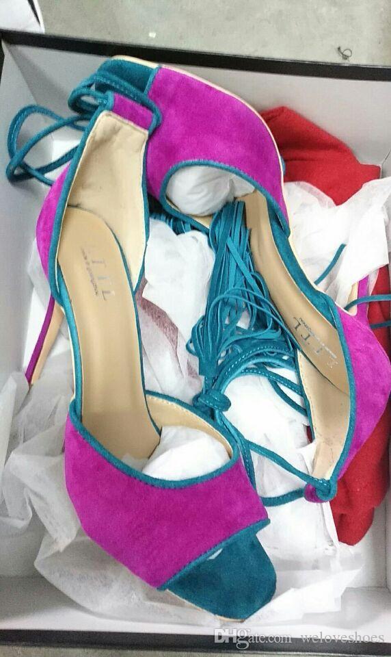 Nuova nappa di modo pompa donne ha indicato i pattini Toe partito del merletto fino frangia alto tallone delle signore dei pattini di vestito 12 centimetri tacco