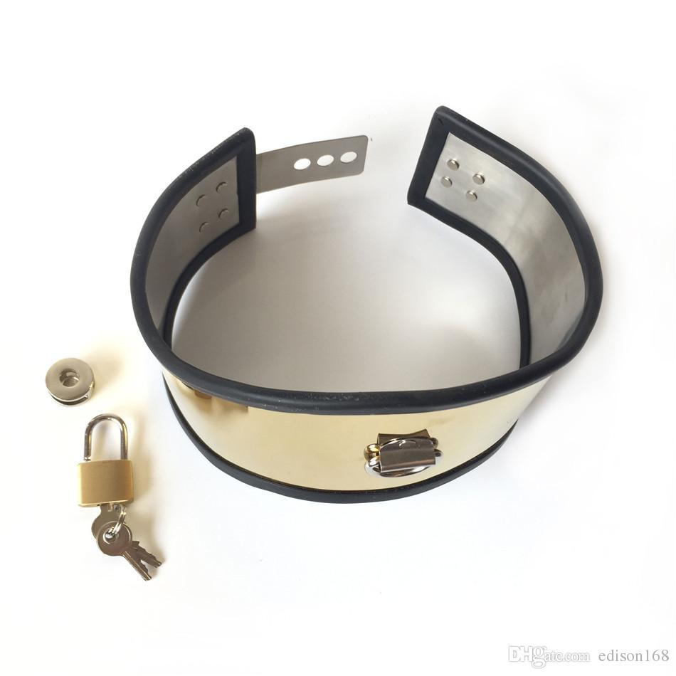 Luxury Titanium Gold Necklet Neck Ring Metal Stainless Steel Restraint Posture Collar Bondage Adult BDSM Sex Games Toy For Male Female