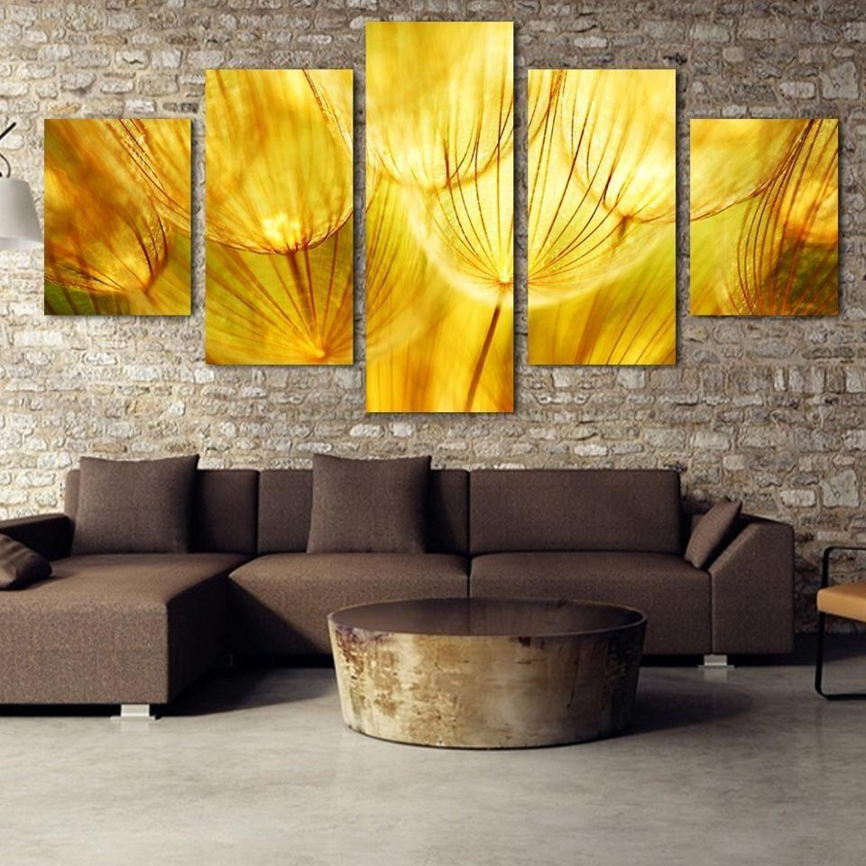 2018 Canvas Art Golden Dandelion Oil Painting Canvas Print Poster ...