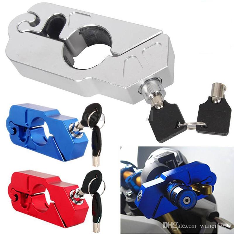 Scooter Motorcycle Motorbike Handlebar Grip Lock Brake Lever Anit Theft Security Caps-Lock Aluminum CNC Made