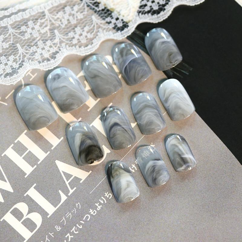 Wholesale Grey Marble Design Lady Nails Acrylic Full False Nail Tips ...