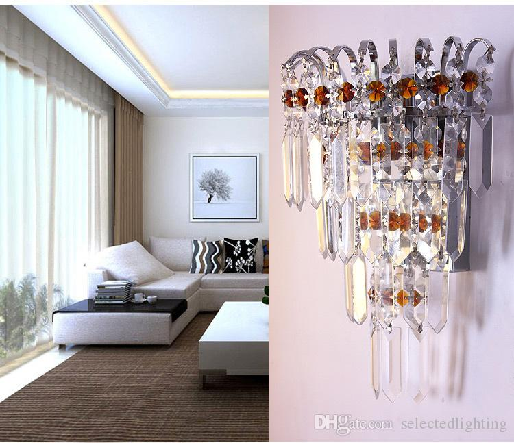 Modern Crystal Wall Lamp Chrome Wall Sconce Bedside Living Room Wall Light Lamp Guaranteed 100% for Living room