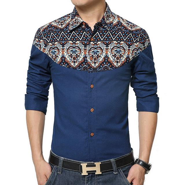 19d801e092f 2019 Fashion Brand Mens Shirt 2017 New Style Long Sleeve Print Shirt Men  Comfortable Cotton And Linen Slim Patchwork Shirts M 5XL YH 117 From Yeeho