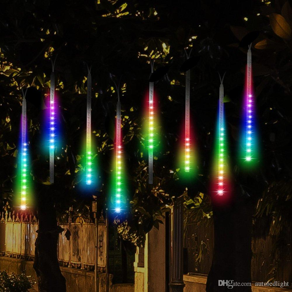 led meteor shower rain lightsdrop icicle snow falling raindrop 30cm 8 tubes waterproof cascading lights for wedding xmas home decor led light strings light