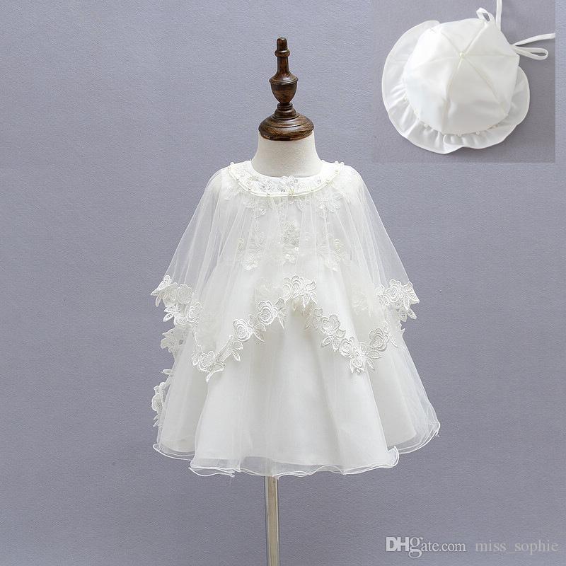 Newborn Girl Dress Beautiful Christening Gown White First Birthday ...