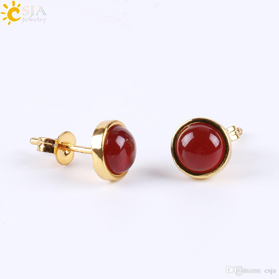 CSJA 2017 Factory Direct Sale Gold Bezel Setting Natural Gemstone Bead Small Stud Earrings for Women Piercing Jewelry with Earring Back E596