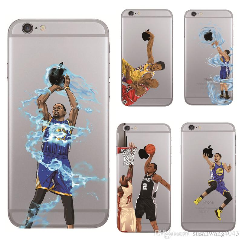 on sale 38996 f8ddb Curry Kobe James basketball man phone case for iphone 7 6 6s plus 5s s7 s6  S5 note 5 hard PC cover fashion painting defender cases GSZ242
