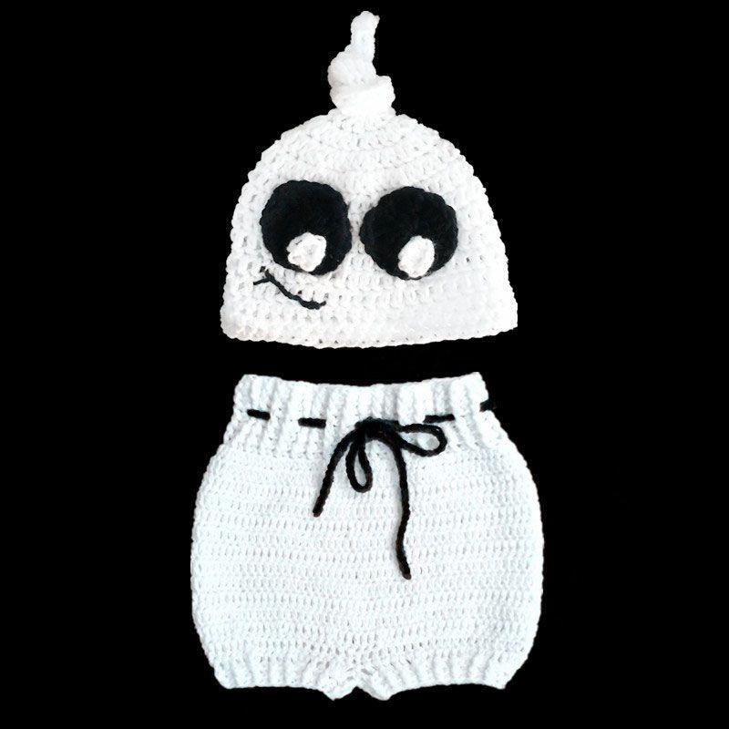 Costume fantôme tricot fantôme super cool, ensemble fait à la main au Crochet bébé garçon fille chapeau fantôme et shorts, Costume d'Halloween pour tout-petit photo