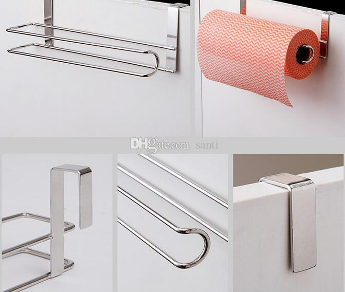New Kitchen Paper Holder Hanger Tissue Roll Towel Rack Bathroom Toilet Sink Door Hanging Organizer Storage Hook Holder Rack