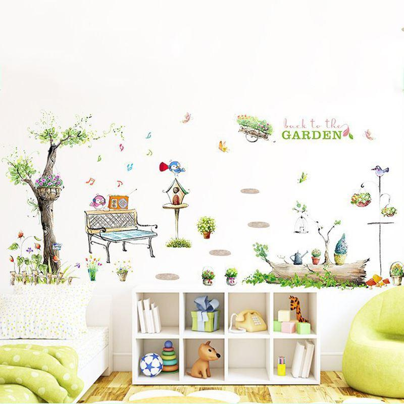 Diy Cartoon Music Bird Wall Sticker Garden Tree Flower Mailbox Wall Decal  Kids Room Removable Art Mural Home Decor 70x50cm Removable Wall Decals For  Kids ... Part 66