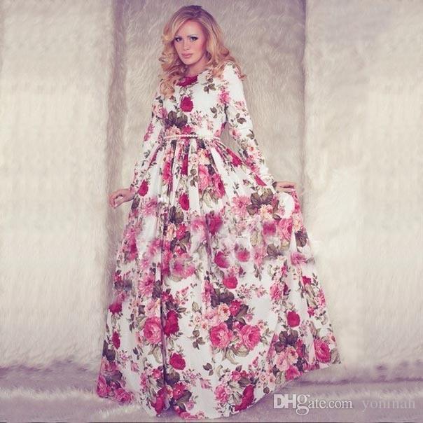 22f138418e6b New outono mulheres maxi dress manga comprida o pescoço vermelho da flor do  vintage imprimir festa de verão longo dress casual vestido longo tamanho  grande