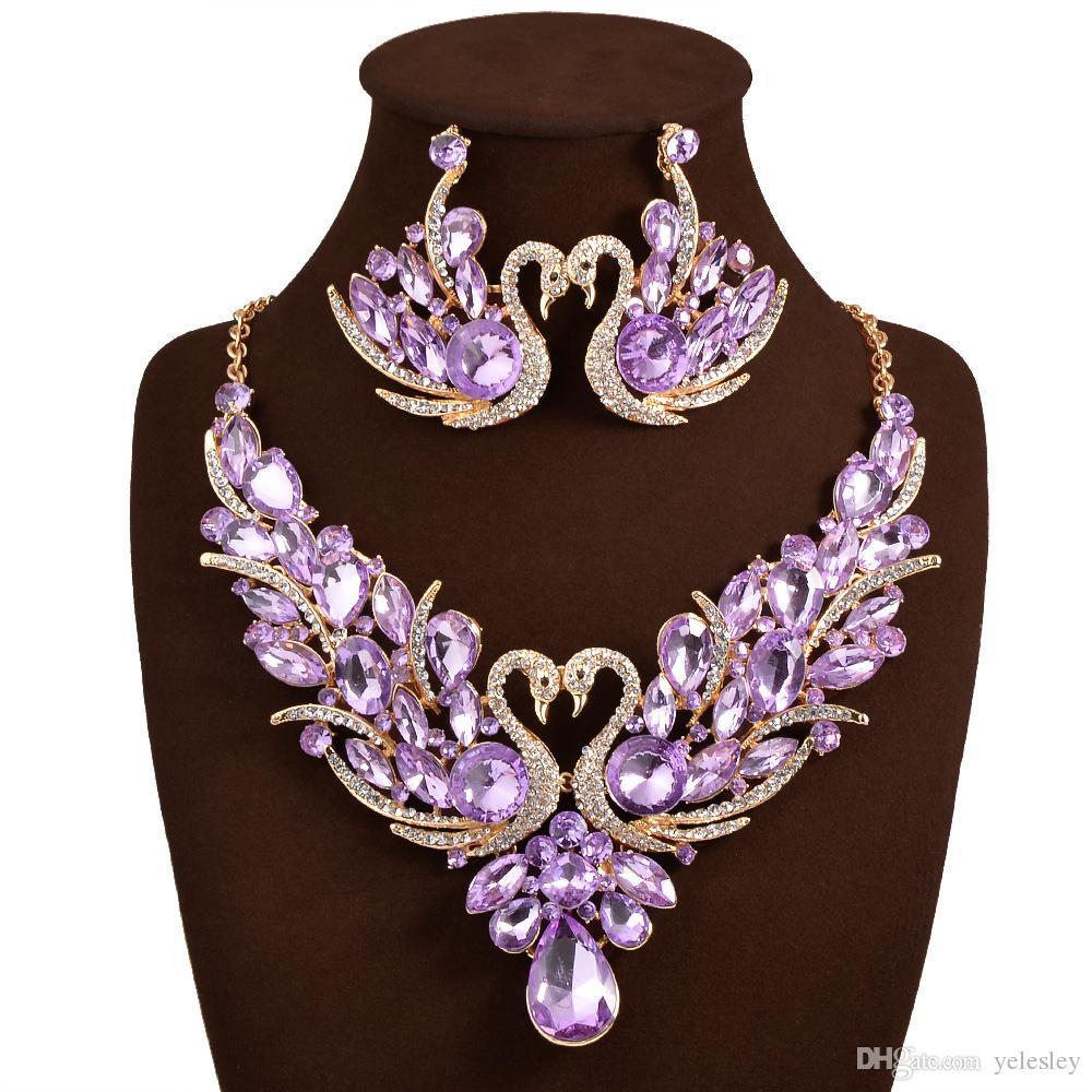 Bridal Jewellery Set Luxury Bridal Jewelry Sets Crystal Wedding Crown Earrings Necklace Tiaras Accessories Fashion Headdress