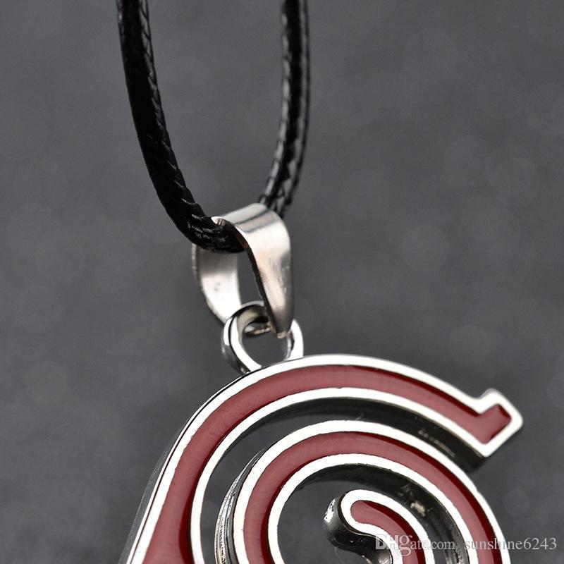 Lega bambini Anime Cartoon Naruto Collana La foglia può Logo segno distintivo eddy Helix swirl Ciondolo rosso spirale collana linea elicoidale