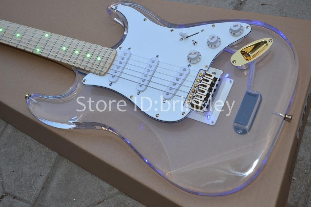 Бесплатная доставка на заказ новый Акриловый корпус электрогитара st электрическая гитара с голубой светодиодной гитарой в китае