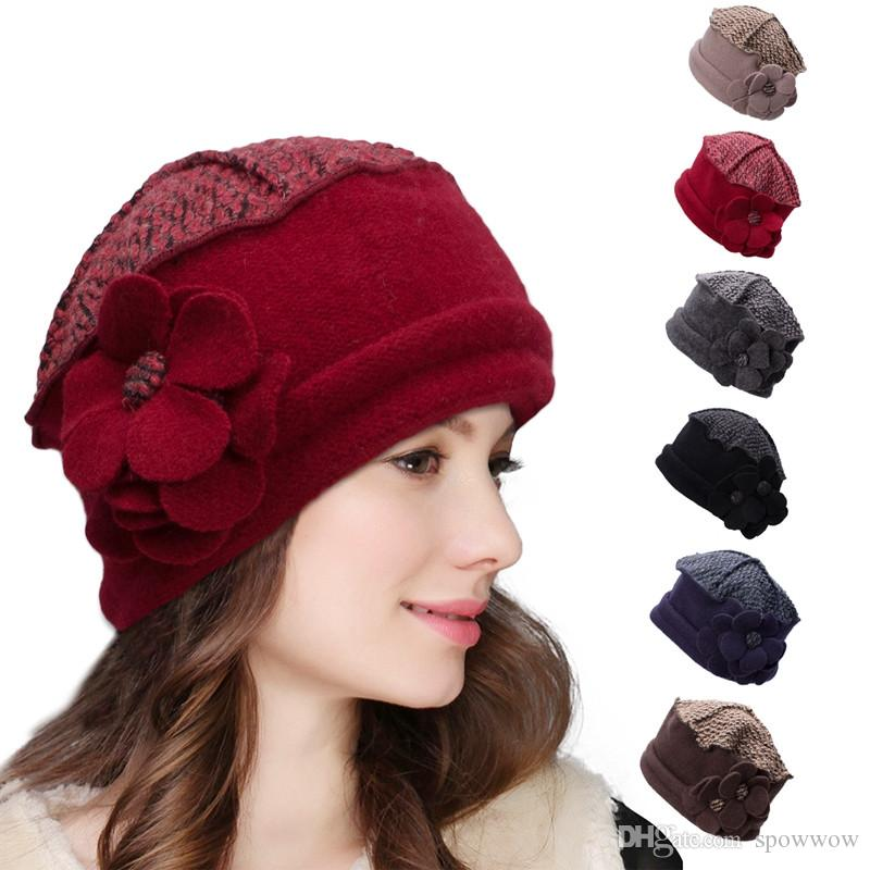 5ab22d0572636 Womens Flower 1920s Wool Beret Cap Church Dress Bucket Crochet Casual Beanie  Skull Winter Hat A125 Flowers Beanie Hat Wool Beret Cap 1920s Online with  ...