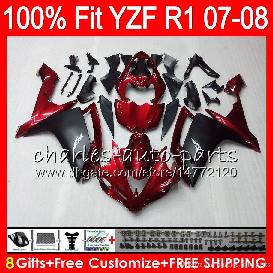 8Gifts Iniezione YAMAHA YZF1000 YZFR1 07 08 YZF 1000 rosso scuro 37HM19 YZF-R1 07-08 YZF-1000 YZF R 1 YZF R1 2007 2008 Carenatura