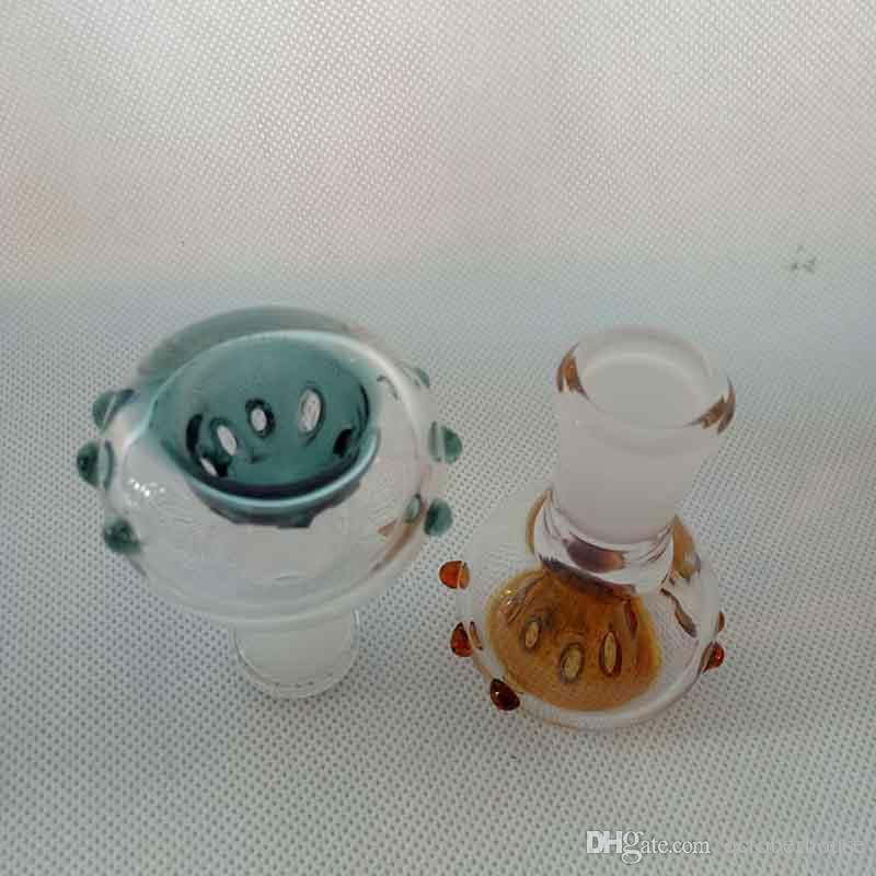 Colorful Glass Bowl With Hole smoking tools Accessories 14mm 18mm Male female For Hookah Water Pipes oil rigs Bubbler