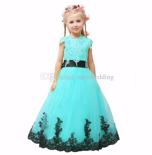 New Brand Good Quality Colorful Organza Beautiful Flower Girl Dress With Bow Children's Pageant Dress Floor Length
