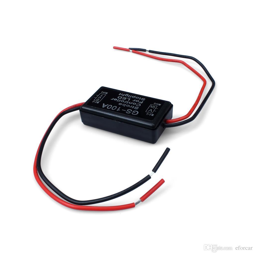 Flash Strobe Controller Flasher-modulen för LED-stoplight Bromsanslutningsljus 12-16V GS-100A