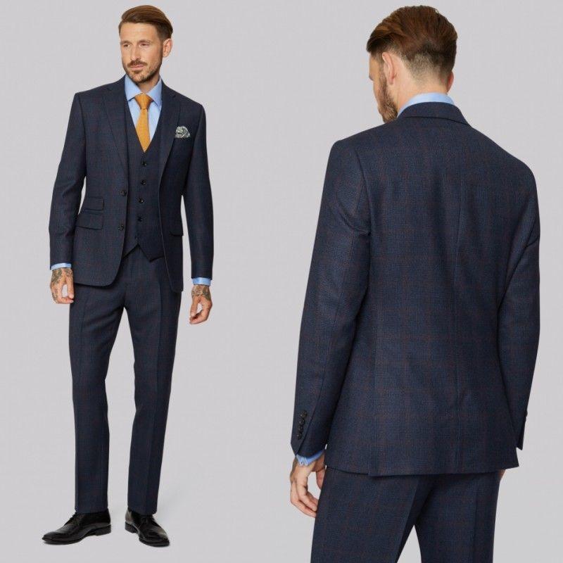e581db091b1 Handsome Men Suits Tuxedos For Wedding Three Pieces Dark Blue Glen ...