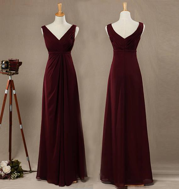 fbff20c8f25 Burgundy A Line Princess V Neck Straps Sleeveless Chiffon Bridesmaid Dress  With Ruffle Floor Length V Back Side Ruched Prom Dress Bridesmaid Dresse ...