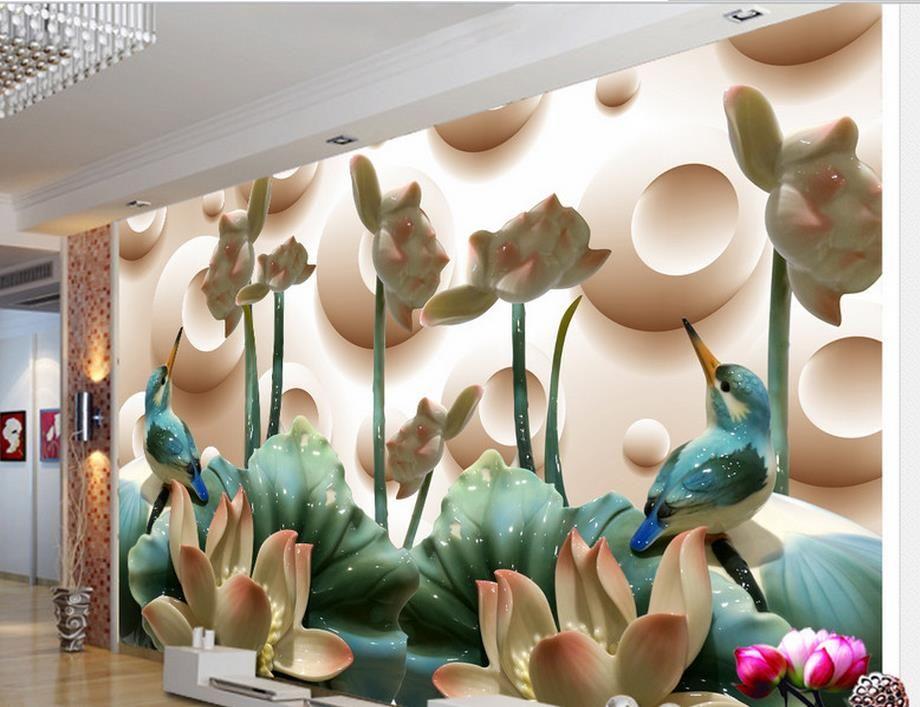 Custom 3d Wallpaper Murals Jade Carving Birds Wallpaper For Walls
