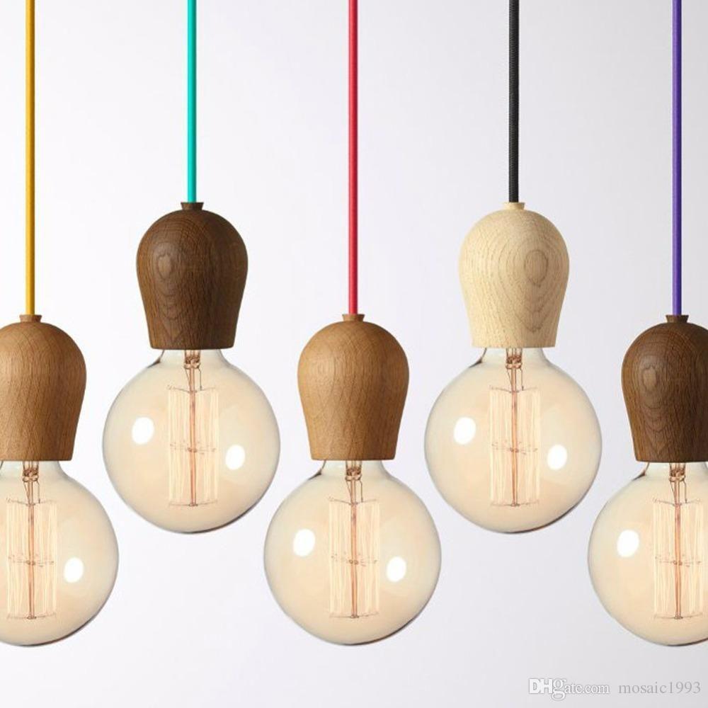 Fast Shipping Modern Oak Wood Pendant Lights Vintage Cord Pendant ...