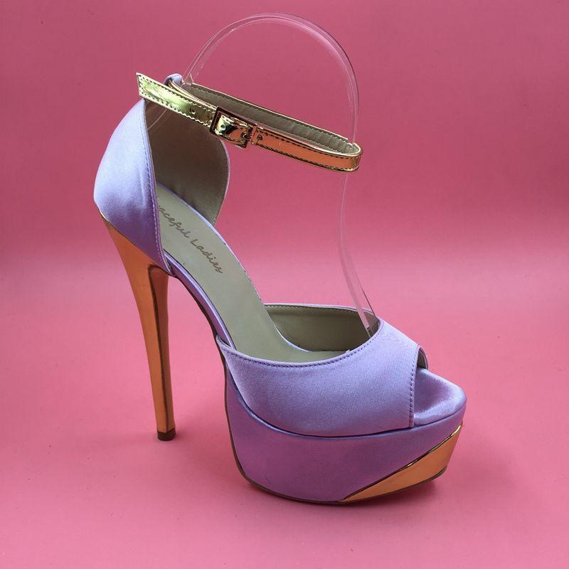 0ac7b1395 Compre Tallas Grandes Zapatos De Boda 2016 Imagen Real Sandalias Para Mujer  Zapatos De Novia Por Encargo Sandalias Mujer Sexy Zapatos De Oro Y Lavanda  ...