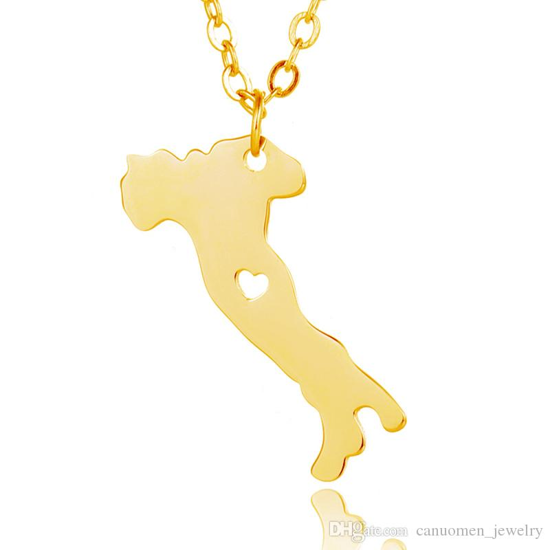 Italy Map Pendant Necklace with Love Heart Geography Geometry Necklaces Stainless Steel Rose Gold Plated Women Charm Jewelry Wholesale