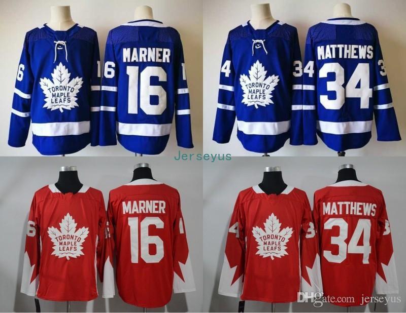 Compre 2018 New Style Toronto Maple Leafs Jersey   16 Mitchell Marner   34  Auston Matthews 100% Bordado Costurado Logos Hockey Jerseys De Jerseyus f4ebf87fd0222