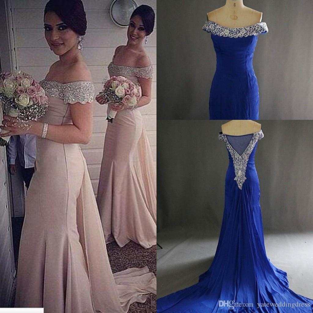 Long bridesmaid dresses off shoulder beaded collar short sleeves long bridesmaid dresses off shoulder beaded collar short sleeves evening dresses sweep train custom made ruffle formal party dresses 2017 champagne ombrellifo Gallery