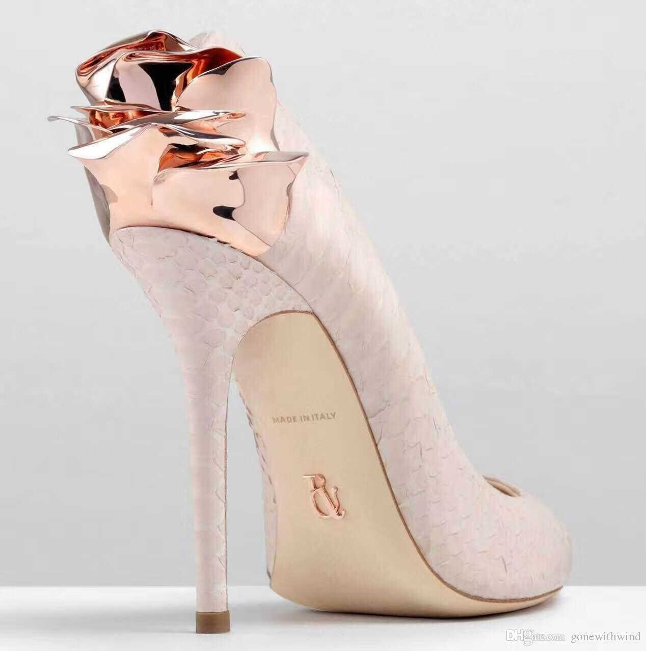 4dd79bcfcd3d 2017 New Arrival Pink Cowskin Bridal Wedding Shoes With Rose Slip On High  Stiletto Heel Pumps Evening Party Prom Shoes Gold Bridesmaid Shoes Gold  Shoes For ...