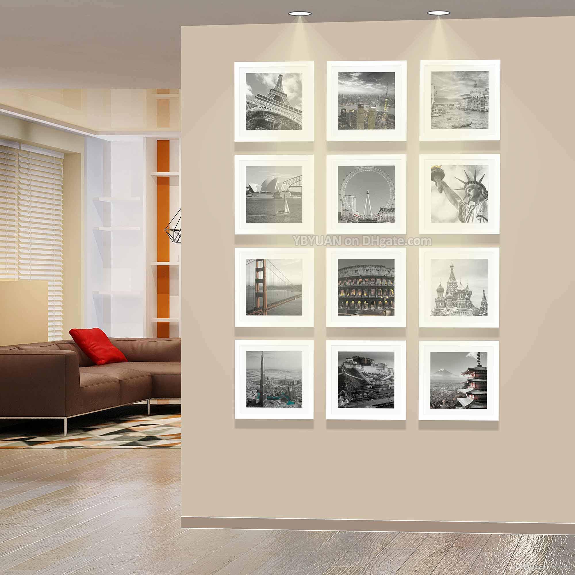 Compre Cuadrado Moderno Marcos Blancos De La Pared De La Foto 32.5cm ...