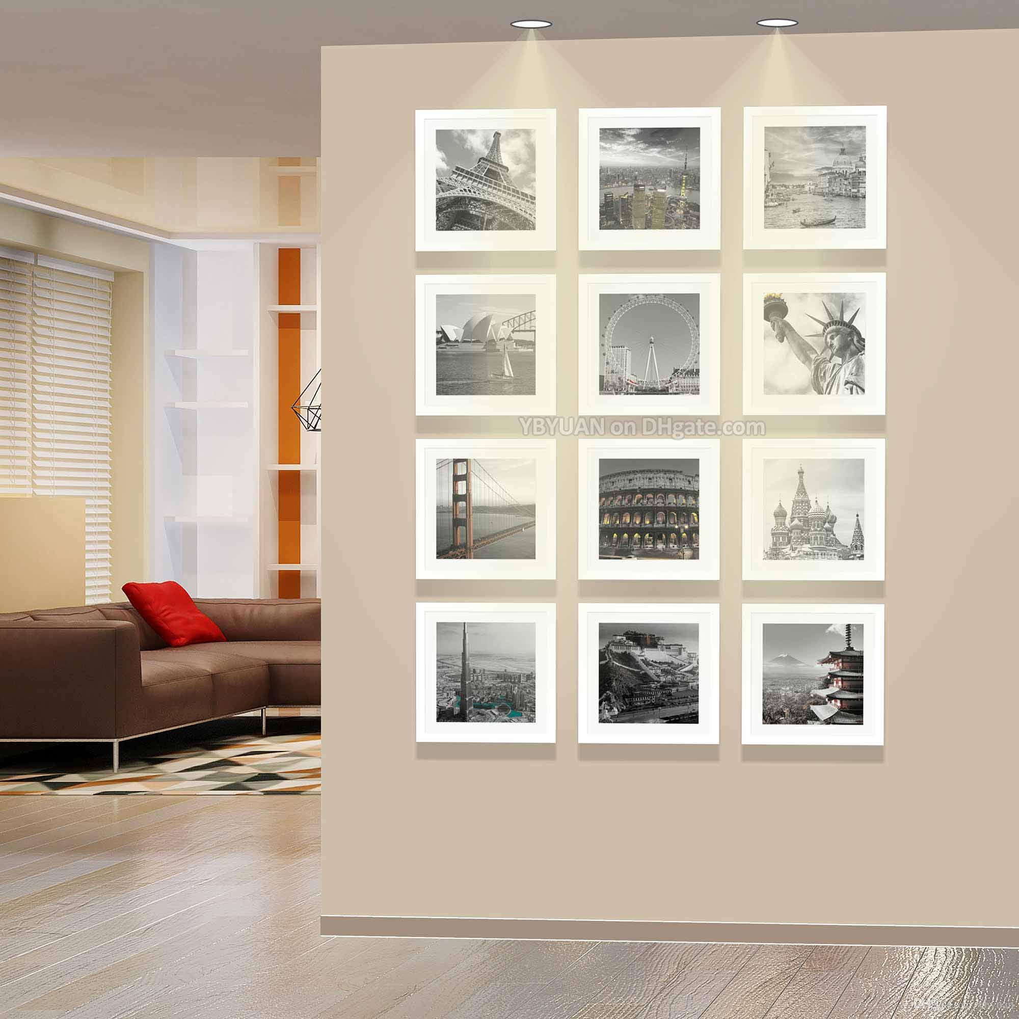 2019 modern square photo wall white frames wooden picture frame with paper passe. Black Bedroom Furniture Sets. Home Design Ideas
