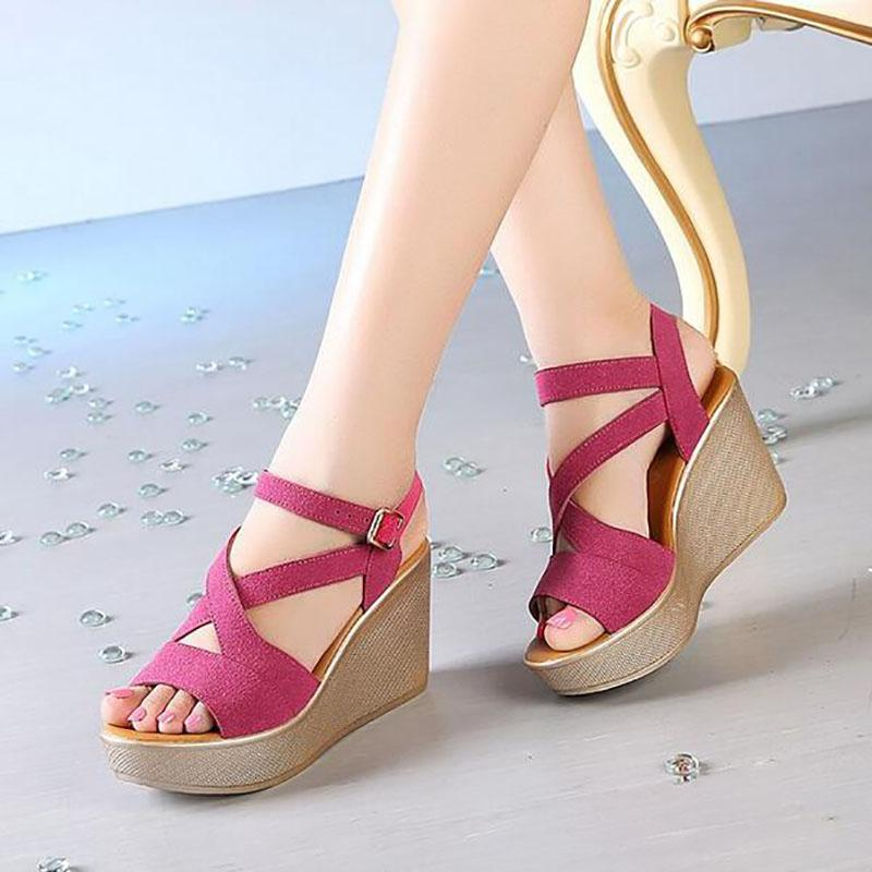 999e30de610efe Size 35 43 Women Sandals 2017 Summer New Open Toe Fish Head Fashion  Platform High Heels Wedge Sandals Female Shoes Women Shoes High Heels Shoes  Green Shoes ...