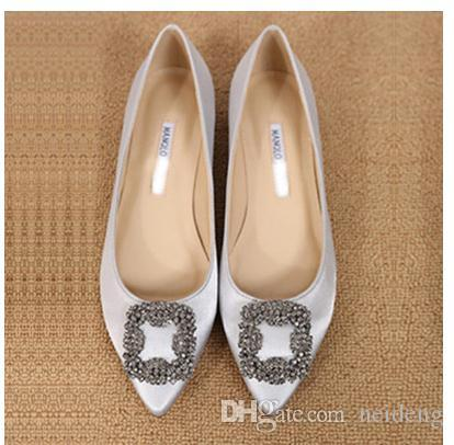 2016 appartements chaussures femmes marque bout pointu femmes plus la taille robe de soirée chaussures talon bas chaussures de mariage de grande taille