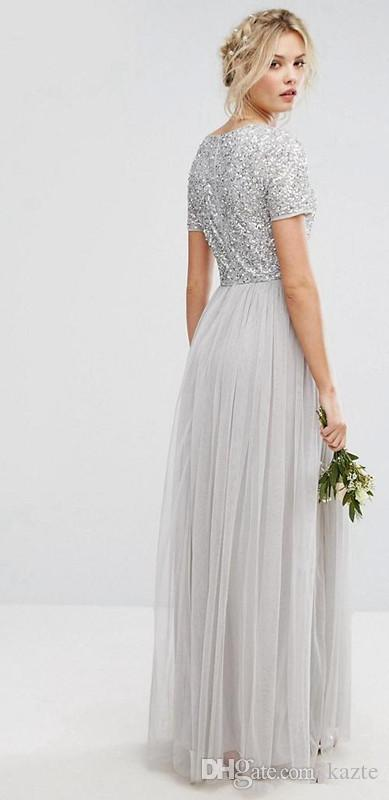 Country Long sequins Bridesmaid Dresses Sliver Short Sleeve V Neck Pleated Tulle A-Line Maid Of Honor pregnant Dress Floor Length