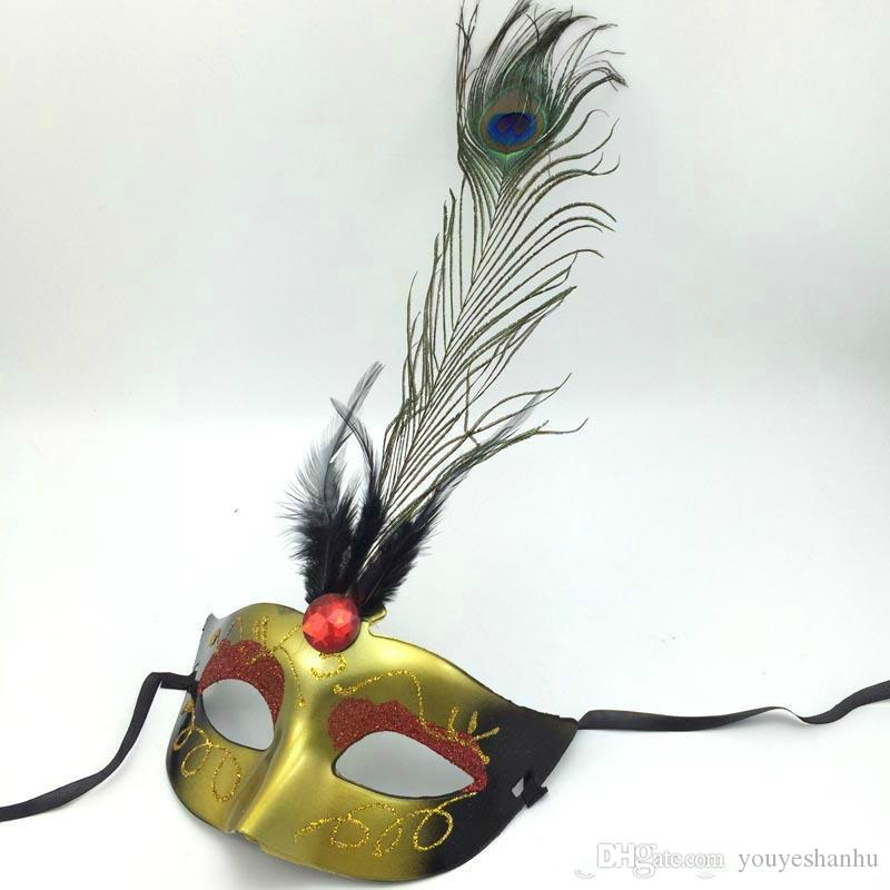 Luxury peacock feather mask Halloween party mask carnival Venetian Masquerade Mask fancy dress opera prom prop mix color