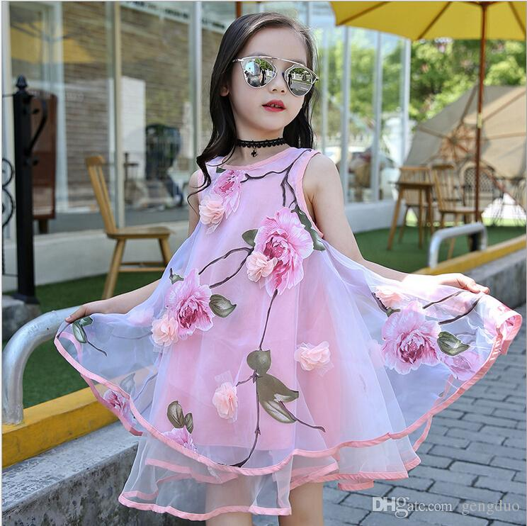 2017 Summer Style Girls Kids Fashion Flower Lace Knee High Ball Gown  Sleeveless Dress Baby Children Clothes Infant Party Dresses UK 2019 From  Gengduo 6fa9c2fce