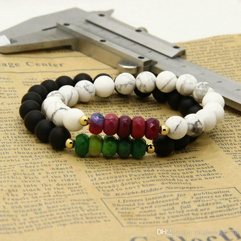 Couples Bracelet Styles Wholesale 8mm Matte Agate White Howlite Stone With Fire Beads Distance Bracelets For Lovers