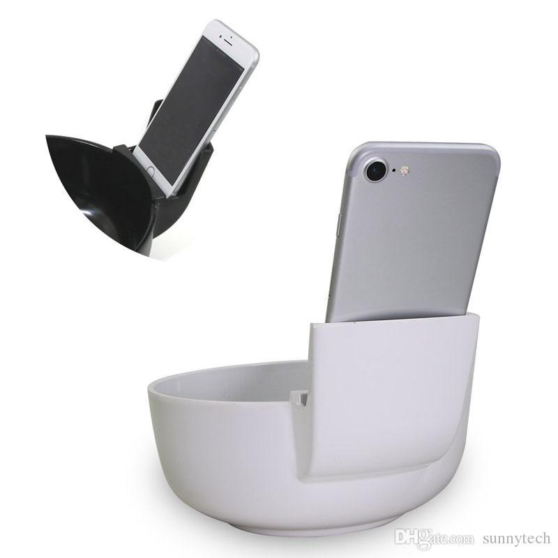 صحن الإبداعي مع حامل الهاتف الخليوي لمستخدمي الهاتف المحمول أبيض أسود الميلامين السلطانية 2L كبيرة الحجم رامين السلطانيات أدوات المائدة ZA2668