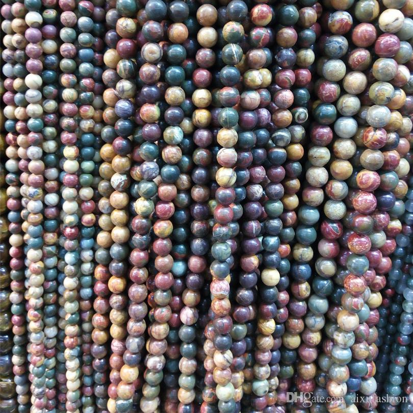 6 mm 8 mm 10 mm de piedra natural Picasso los granos redondos 37cm Granos flojos de piedra coloridos al por mayor para la joyería de DIY que hace la pulsera del collar